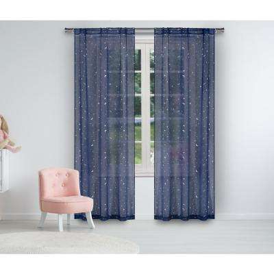 Luna 37 in. W x 84 in. L Polyester Window Panel in Navy-Silver