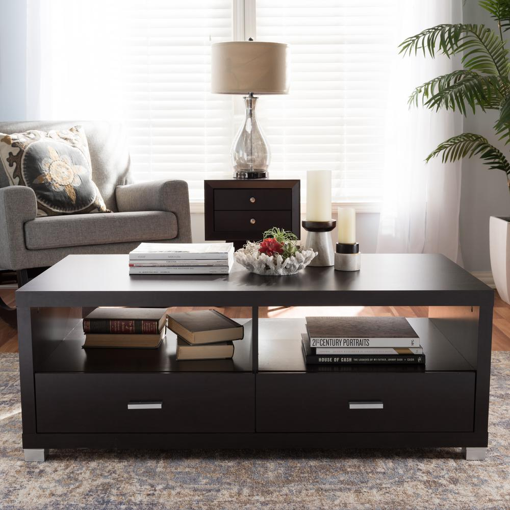Delicieux Baxton Studio Derwent Contemporary Dark Brown Wood Coffee Table