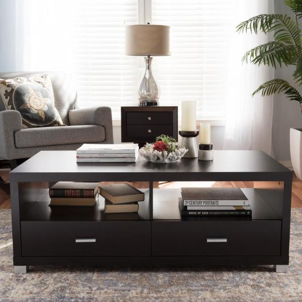 Baxton Studio Derwent Contemporary Dark Brown Wood Coffee Table 28862-3819-HD