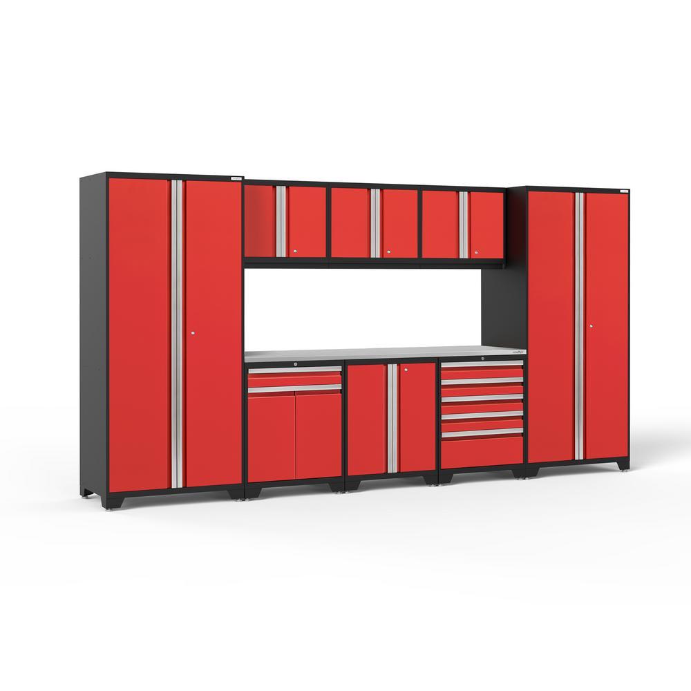 Pro 3.0 156 in. W x 83.25 in. H x 24 in. D 18-Gauge Welded Steel Stainless Steel Worktop Cabinet Set in Red (9-Piece)