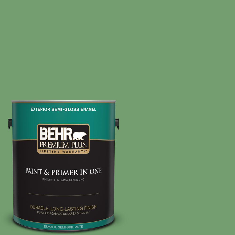 BEHR Premium Plus 1-gal. #450D-6 Shire Green Semi-Gloss Enamel Exterior Paint