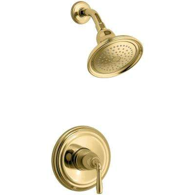 Devonshire 1-Handle Wall-Mount Shower Valve Trim Kit in Polished Brass (Valve not included)