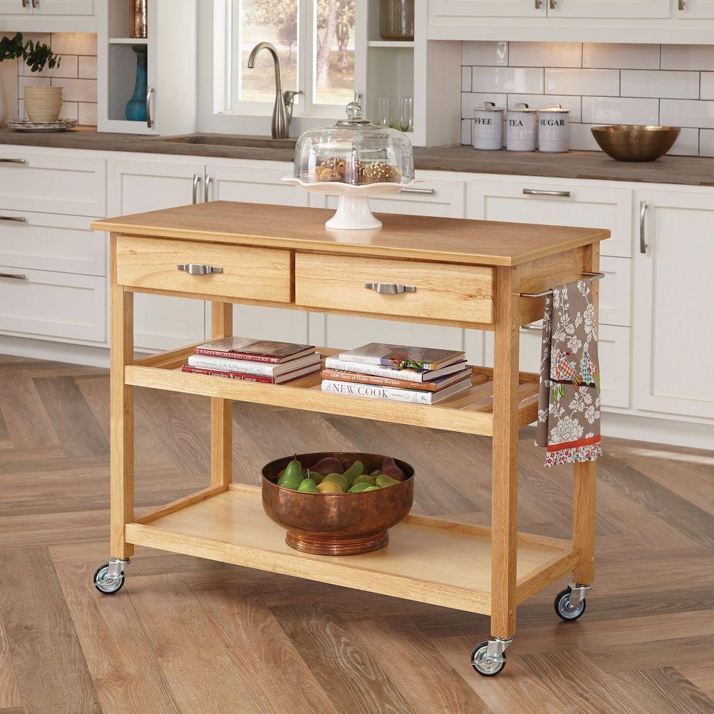 Natural Kitchen Cart With Storage
