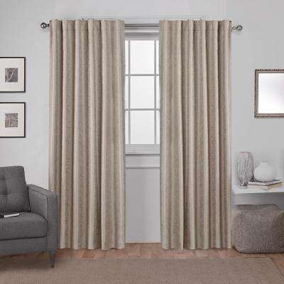 Zeus 52 in. W x 96 in. L Woven Blackout Hidden Tab Top Curtain Panel in Natural (2 Panels)