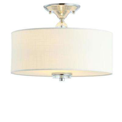 Marc 15 in. Chrome/White Metal/Crystal LED Flush Mount