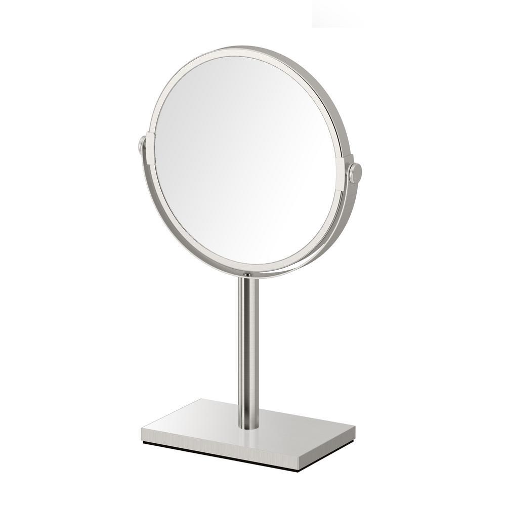 Gatco Modern Rectangle Base 12.5 in. Countertop 3x Magnification Makeup Mirror in Satin Nickel