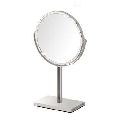 Modern Rectangle Base 12.5 in. Countertop 3x Magnification Makeup Mirror in Satin Nickel