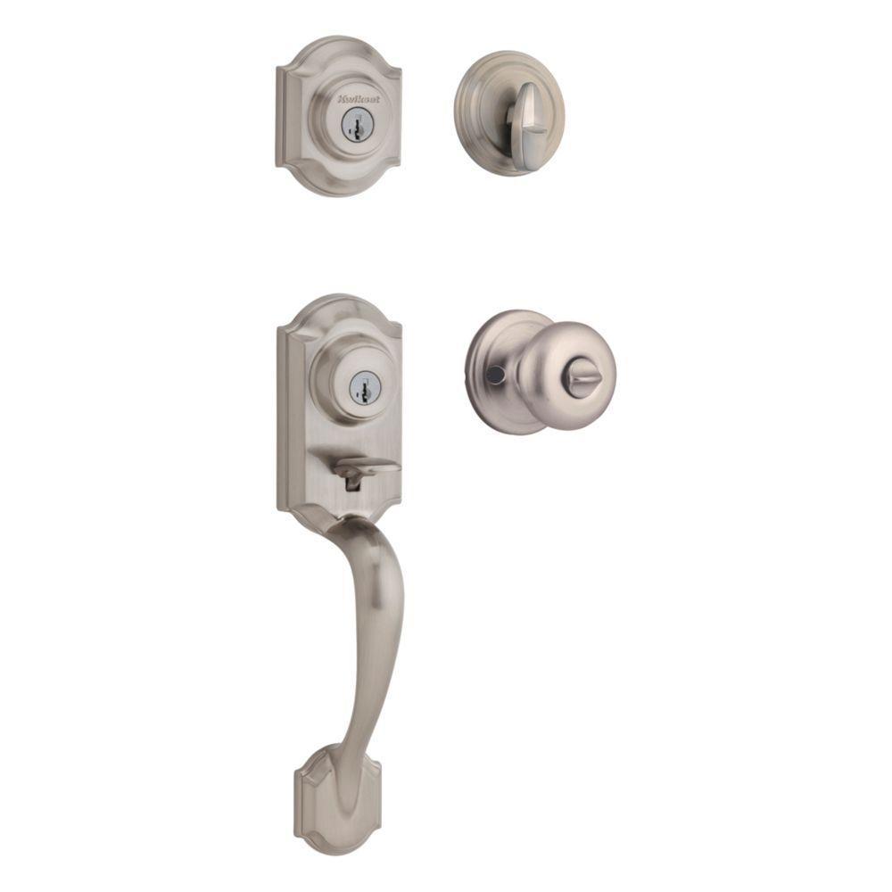 Montara Satin Nickel Single Cylinder Door Handleset with Juno Entry Knob featuring SmartKey