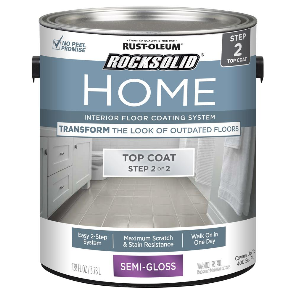 RustOleumRockSolid Rust-Oleum RockSolid Home 1 gal. Semi-Gloss Clear Interior Floor Topcoat (2-Pack)