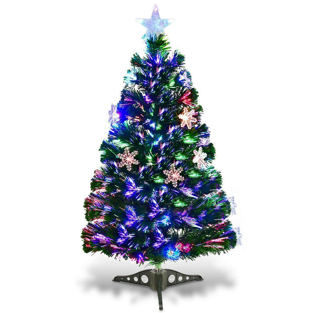 Christmas Tree Fiber Optic Lights: Costway 3 Ft. Pre-Lit Fiber Optic Artificial Christmas