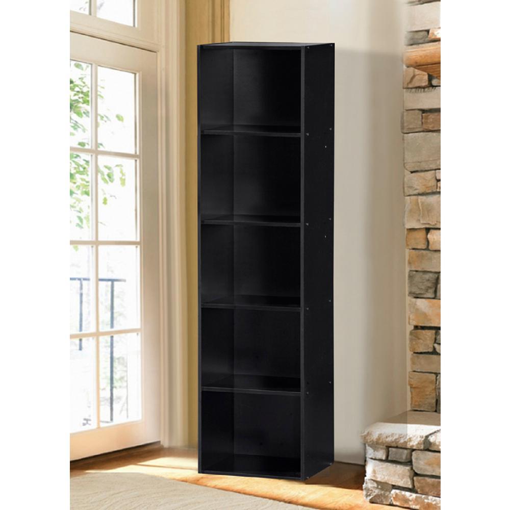 5-Shelf, 59 in. H Black Bookcase
