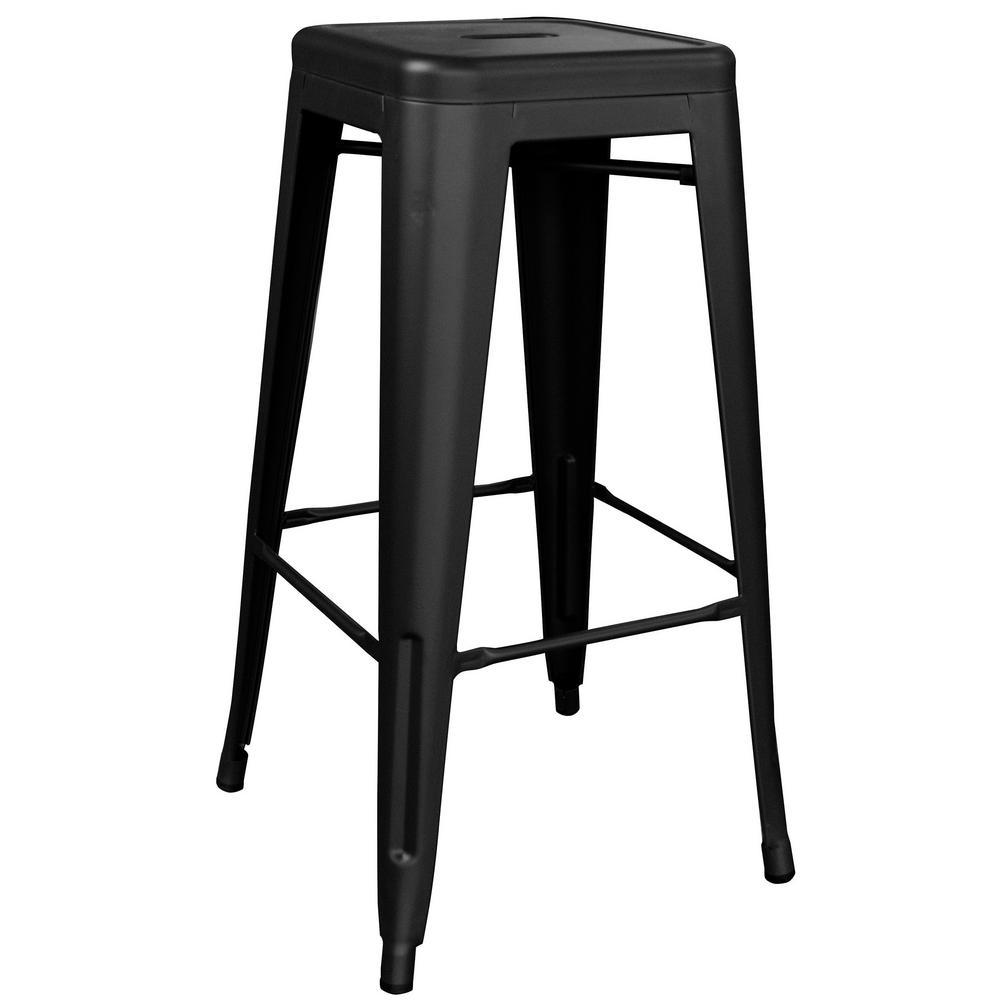 Loft Series 30 in. Indoor/Outdoor Stackable Anti-Rust Coated Metal Bar Stool in Black