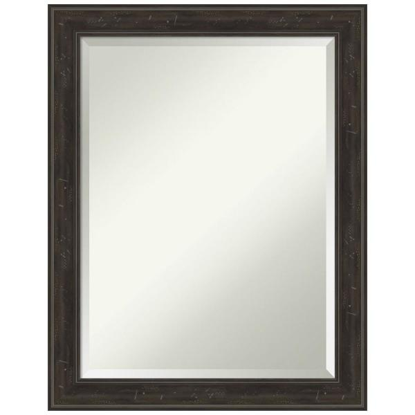 Amanti Art Medium Rectangle Distressed Brown Tan Beveled Glass Modern Mirror 28 In H X 22 In W Dsw4593125 The Home Depot