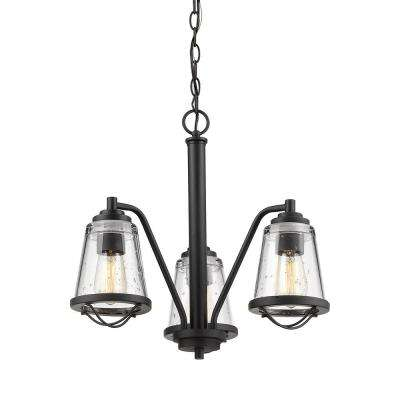 Lorinda 3-Light Bronze Chandelier with Clear Seedy Glass Shade