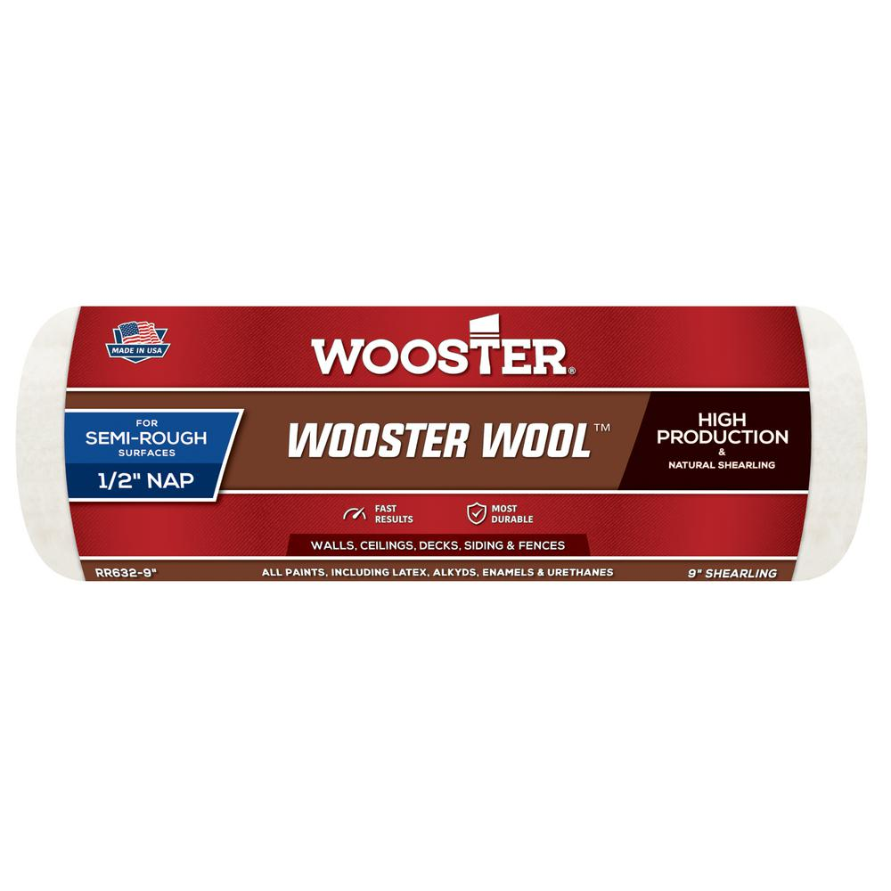 Wooster 9 in. x 1/2 in. High Density Pro Wool Roller Cover