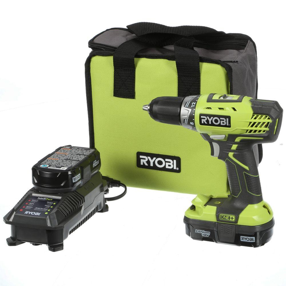 ryobi 18 volt one lithium ion compact drill driver kit p1811 the home depot. Black Bedroom Furniture Sets. Home Design Ideas