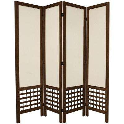 Burnt Brown Open Muslin 4 Panel Room Divider
