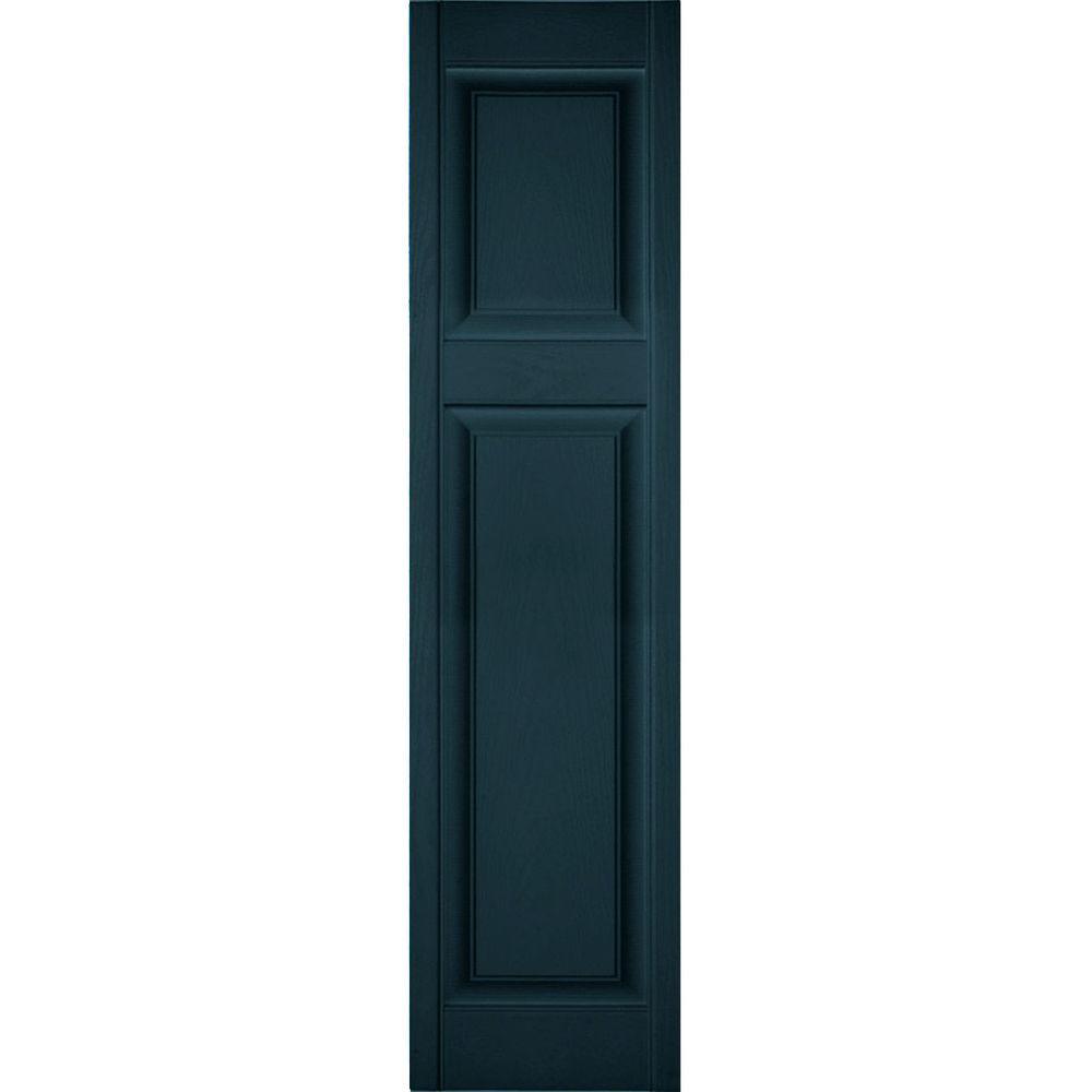 Ekena Millwork 12 In X 46 In Lifetime Vinyl Custom Offset Raised Panel Shutters Pair Midnight Blue Lp3c12x04600mb The Home Depot