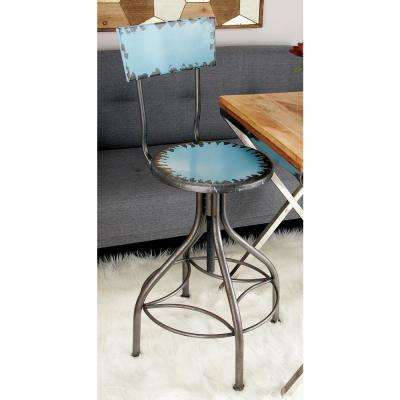 41 in. Distressed Light Blue and Gray Iron Bar Chair