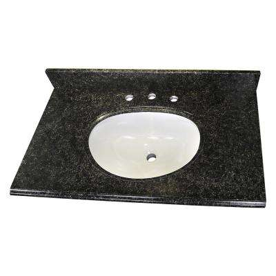 37 in. W x 22 in. D Granite Single Oval Basin Vanity Top in Uba Tuba with 8 in. Faucet Spread and White Basin