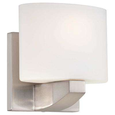 1-Light Brushed Nickel Sconce with Etched Opal Glass
