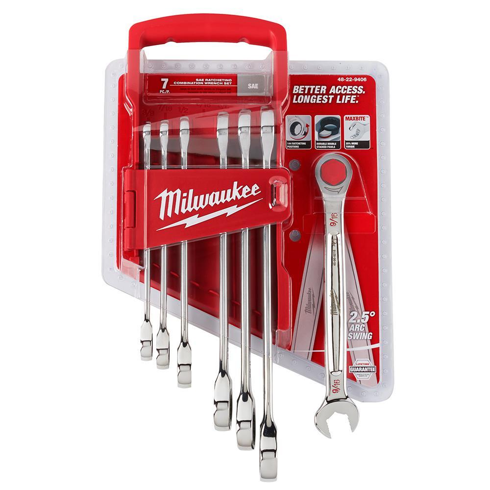 Milwaukee SAE Combination Ratcheting Wrench Set (7-Piece)