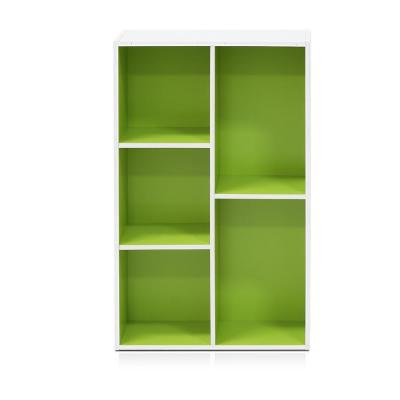 31.5 in. Green/White Faux Wood 5-shelf Standard Bookcase with Storage