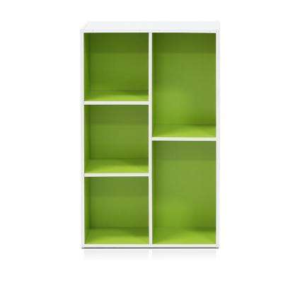 White/Green 5-Cube Reversible Open Shelf