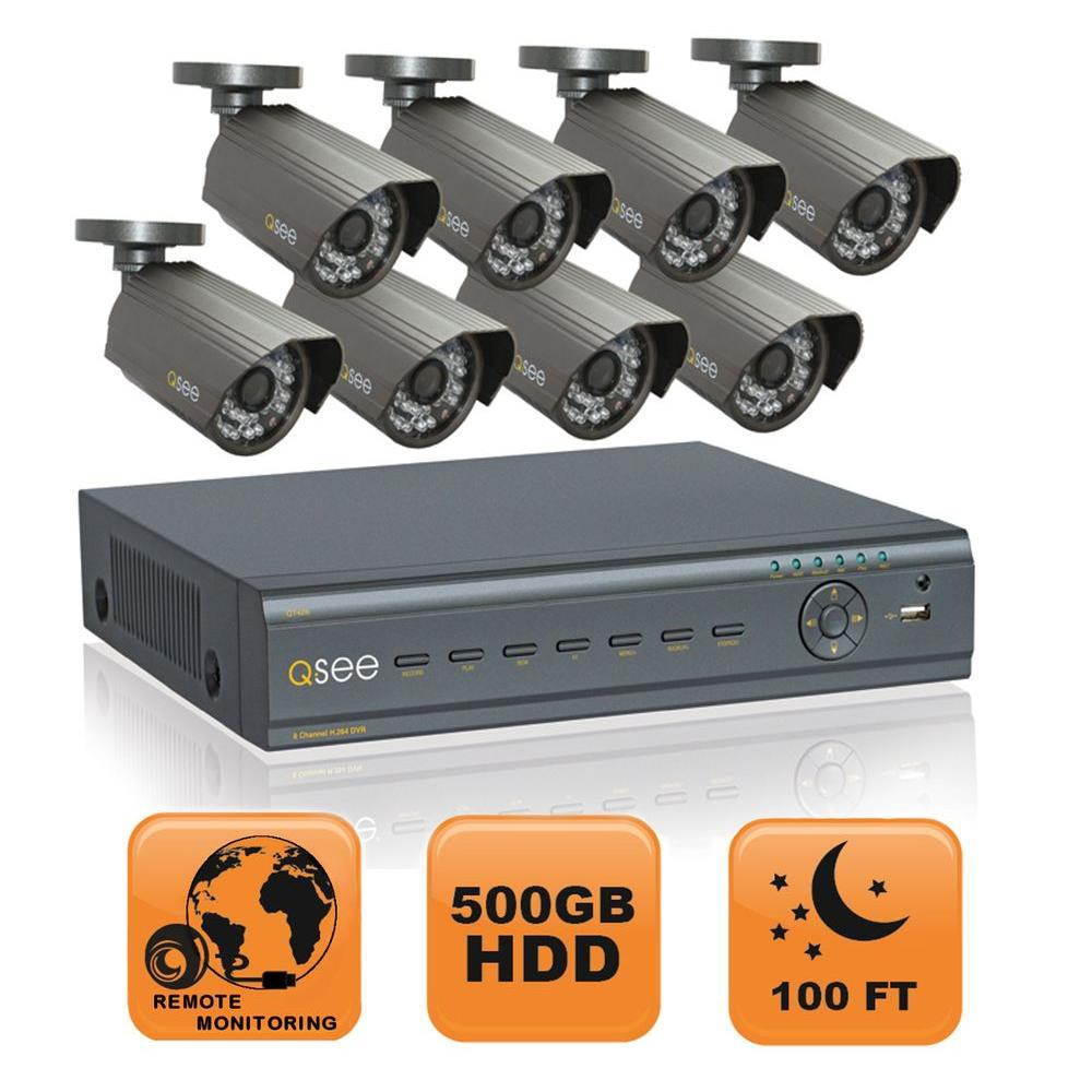 Q-SEE Advanced Series 8 CH 500 GB Hard Drive Surveillance System with Eight 600 TVL Cameras-DISCONTINUED