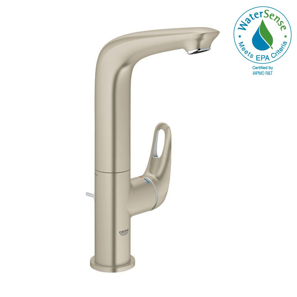 Eurostyle L-Size Single Hole Single-Handle Bathroom Faucet in Brushed Nickel