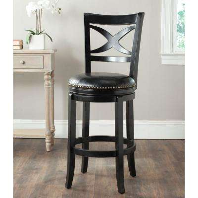 Santino 29 in. Black Swivel Cushioned Bar Stool