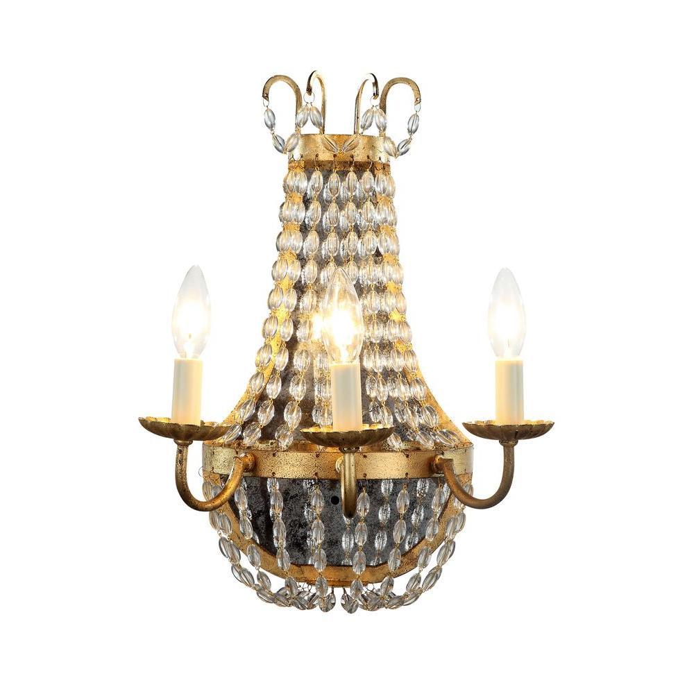 Roma 3-Light Golden Iron Sconce
