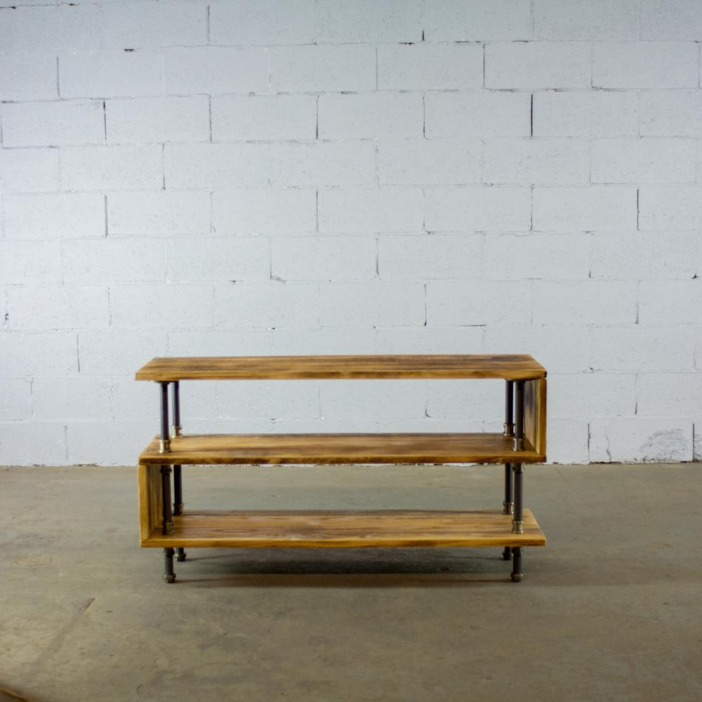 Tucson modern industrial natural 48 in wide tv stand living rec room office metal reclaimed aged wood