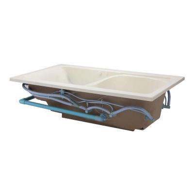 EverClean Cadet 72 in. x 42 in. Reversible Drain Whirlpool Tub in Linen