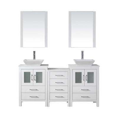 Dior 67 in. W Bath Vanity in White with Stone Vanity Top in White with Square Basin and Mirror and Faucet