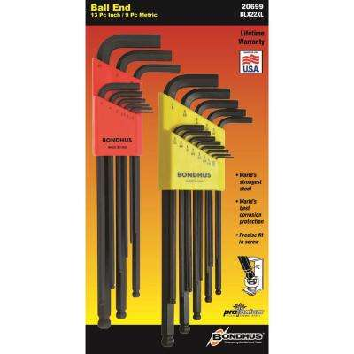 Standard and Metric Ball End L-Wrench Sets (22-Piece)