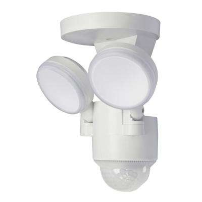 180-Degree White Motion Activated Outdoor Integrated LED Flood Lights with 1100 Lumens