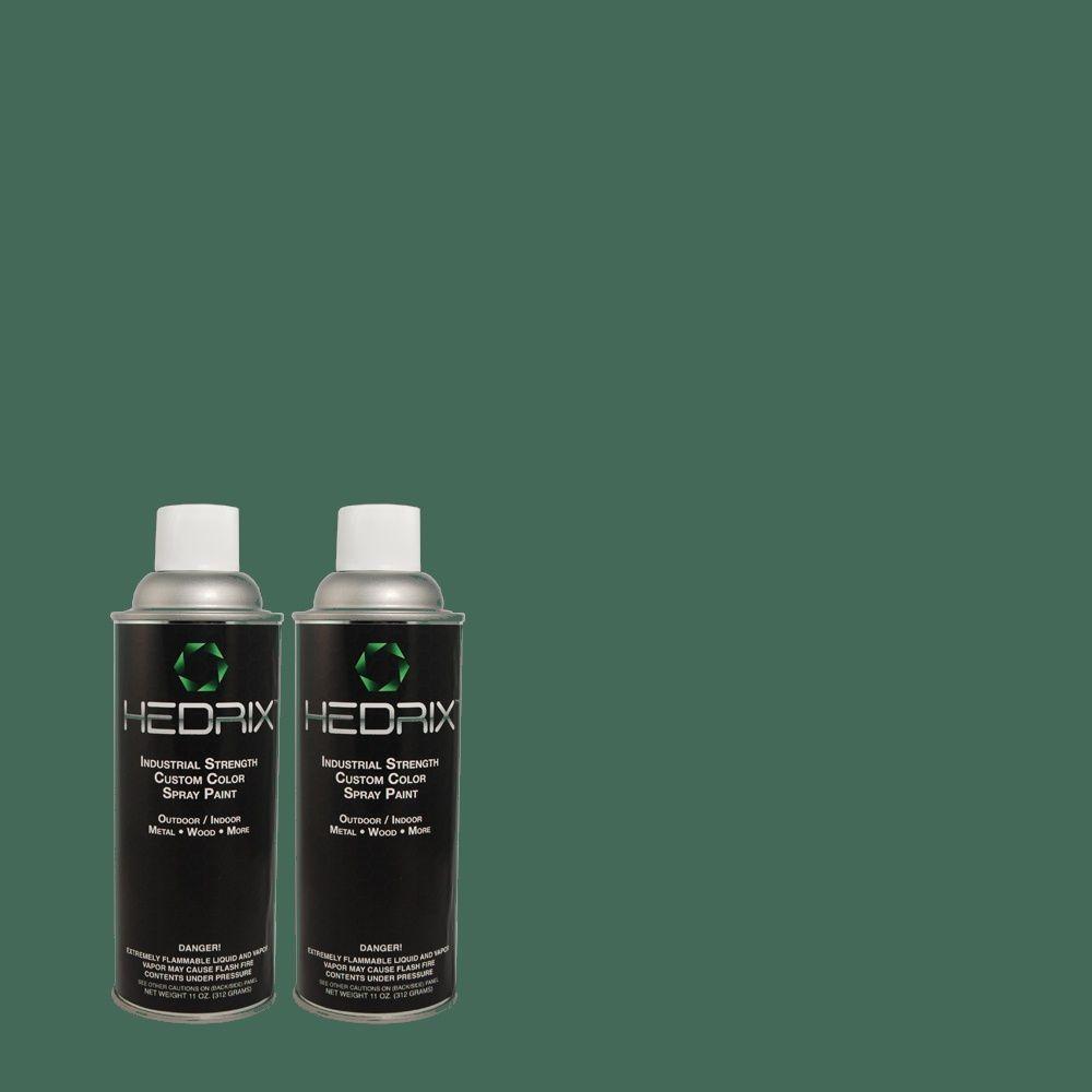 Hedrix 11 oz. Match of MQ6-5 Verdant Forest Semi-Gloss Custom Spray Paint (8-Pack)