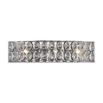 Tessa 3-Light Polished Chrome with Clear Crystal Bath Light