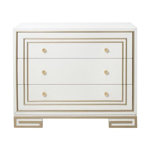 HomeFare Modern Style White with Champagne Gold Overlay Accent Drawer Chest