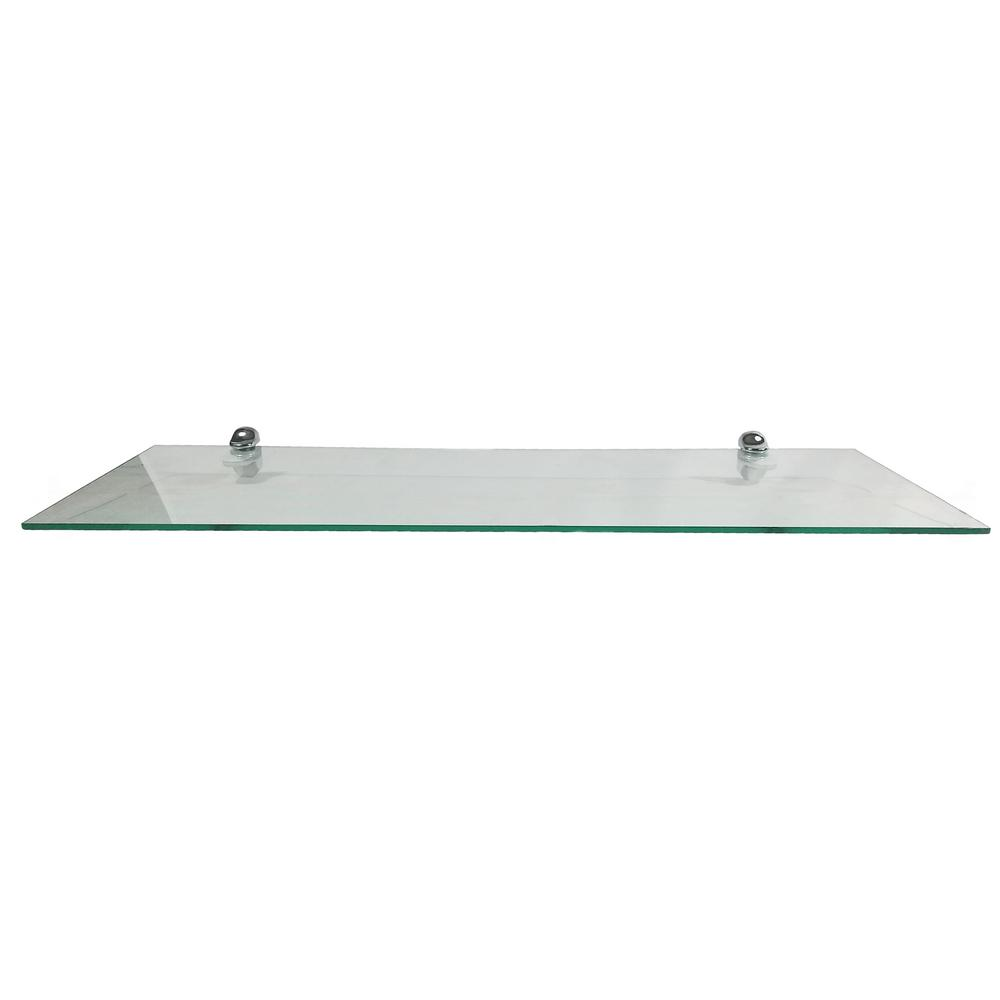 Strange 8 In D X 24 In W X 0 24 In H Clear Glass Floating Rectangular Decorative Wall Shelf With Chrome Nylon Brackets Download Free Architecture Designs Embacsunscenecom