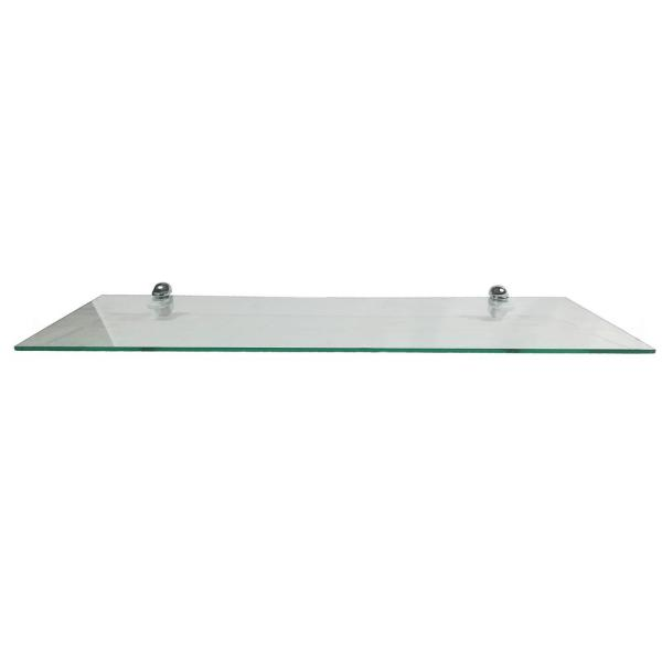 ABOLOS 10 in. D x 30 in. W x 0.24 in. H Clear Glass Floating Rectangular Decorative Wall Shelf with Chrome Nylon Brackets