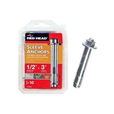 1/2 in. x 3 in. Zinc-Plated Steel Hex-Head Sleeve Anchors (10-Pack)