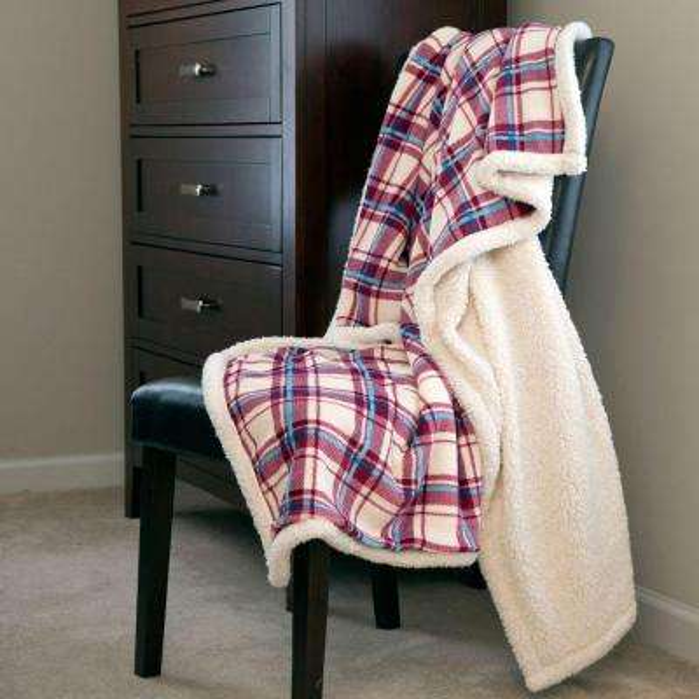 Plaid Fleece Sherpa Polyester Throw Blanket