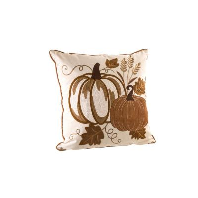 18 in. L x 18 in. W Cotton Embroidered Pumpkin Pillow Cover