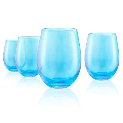 16 oz. Stemless Wine Glasses in Turquoise (Set of 4)