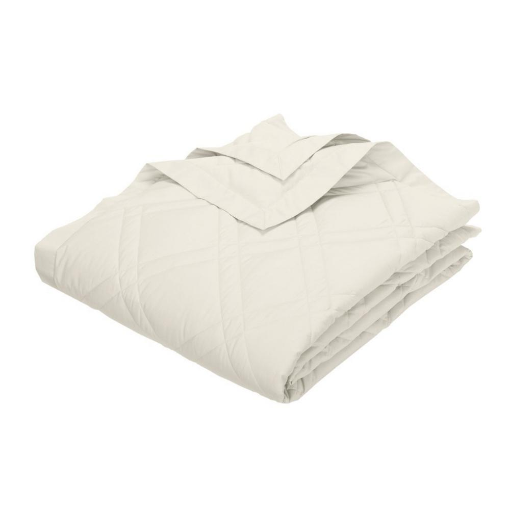 Classic Down Ivory Cotton King Quilted Blanket