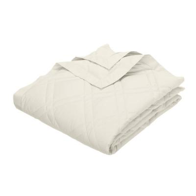 Classic Down Ivory Cotton Twin Quilted Blanket