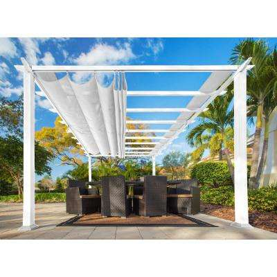 Paragon 11 ft. x 16.5 ft. White Aluminum Pergola with Creme Color Canopy