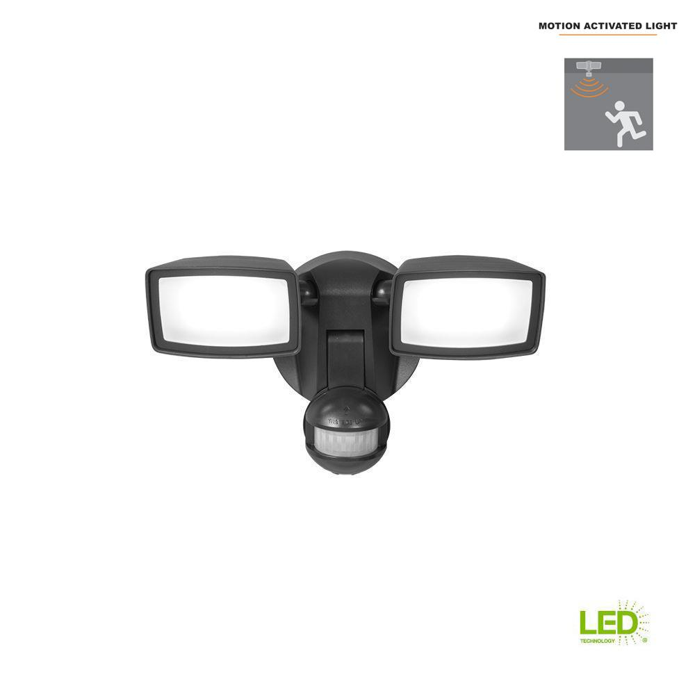 Halo 180-Degree Bronze Dual-Position Motion Activated Sensor Outdoor Integrated LED Flood Light